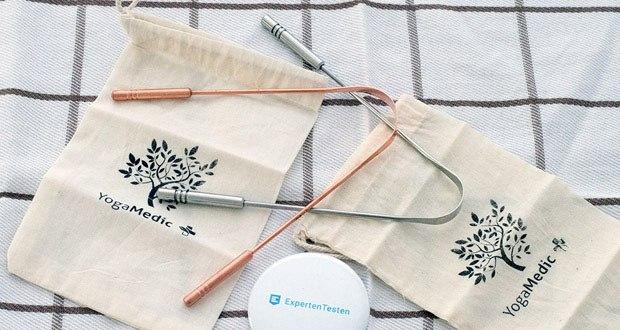 YogaMedic Zungenreiniger im Test - extra stabile und keimfreie Griffe aus 100% Edelstahl / Kupfer + eine Baumwolltasche für den Transport