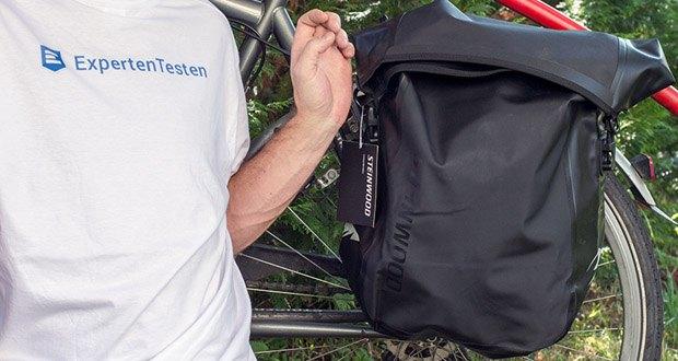 Steinwood Premium Fahrradtasche / Seitentasche für Gepäckträger im Test - Abnehmbarer Schultergurt
