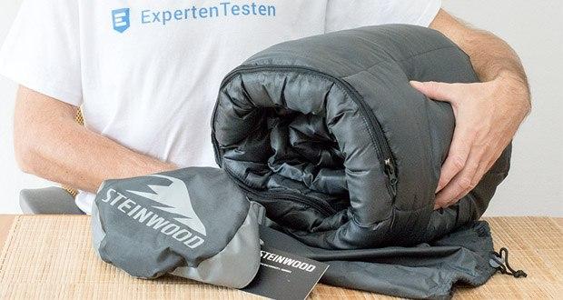 Steinwood Premium Hütten- Mumien-Schlafsack im Test - Klemmfreie Zwei-Wege-Reißverschlüsse