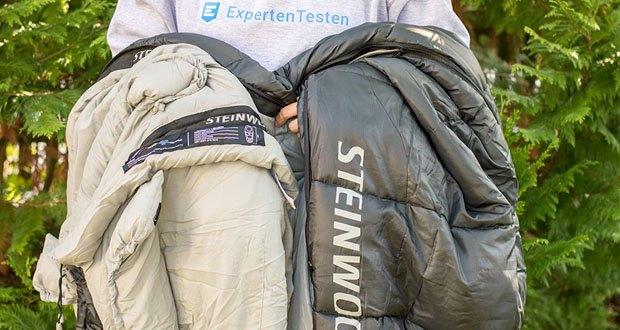 Steinwood Premium Hütten- Mumien-Schlafsack im Test - die anschmiegsame Füllung aus Polyester schützt effektiv vor Kälte & Nässe und bietet maximalen Schlafkomfort