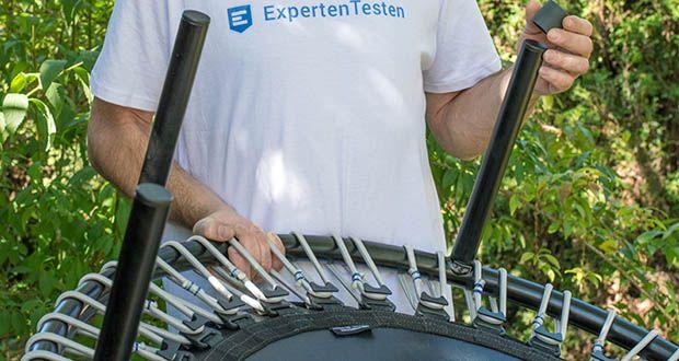 bellicon Classic Mini-Trampolin im Test - 30 Gummiseilringe, blauer Clip = mittlere Stärke, Benutzergewicht bis 90 kg