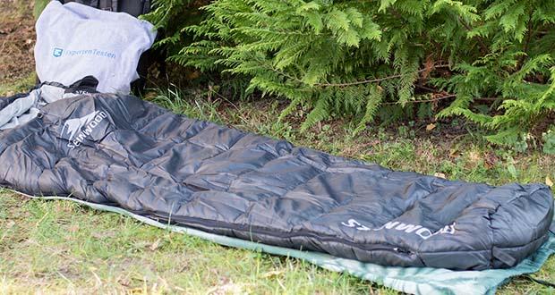 Steinwood Premium Hütten- Mumien-Schlafsack im Test - eingebauter Wärmekragen & Wärmeleiste