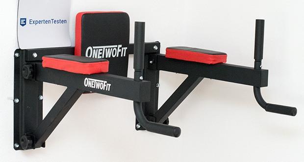 OneTwoFit Multifunktionale Klimmzugstange für die Wandmontage im Test - Dip Station: Gepolsterte Rückenlehne: 24 x 30 cm, Abstand der Dip Station von der Wand: 59 cm, Abstand zwischen den Montageplatten: 57 cm