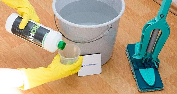 BIOHY Bodenreiniger im Test - modernes Unterhalts- und Wischpflegemittel auf der Basis von wasserlöslichen Polymeren, kein unerwünschter Schichtenaufbau