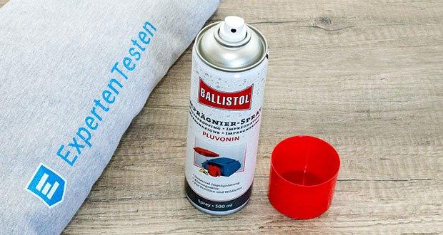 BALLISTOL Pluvonin Imprägnierspray im Test - bildet eine extrem wasser- und schmutzabweisende Abperl-Beschichtung auf allen Naturfasern, Goretex und Kunstfasern sowie auf Leder
