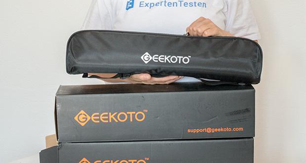 GEEKOTO Aluminum Stativ AT24Pro im Test - kommt mit einer verstellbaren Umhängetasche, können Sie es leicht überall für Outdoor-Fotografie mitnehmen