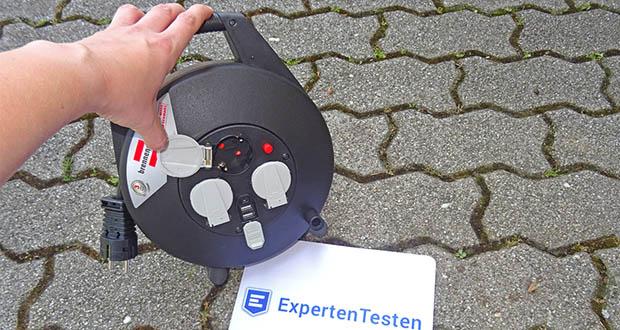Brennenstuhl Kabeltrommel im Test - handliche und standfeste Mini-Kabeltrommel mit 3 Schutzkontakt-Steckdosen