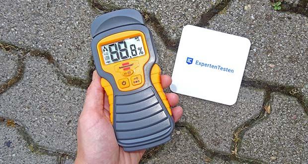 Brennenstuhl Feuchtigkeitsmessgerät im Test - robustes, handliches Feuchtigkeitsmessgerät zur Bestimmung des Feuchtigkeitsgehalts von Holz oder Baustoffen wie Z. B. Beton, Ziegel, Estrich, Gipskarton, Tapeten, etc