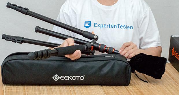 GEEKOTO Aluminum Stativ AT24Pro im Test - 4-teilige Säulenbeine mit Schnellverschlüssen ermöglichen das Ausfahren des Fotostativs auf die maximale Höhe von 200cm oder das Zusammenziehen auf die minimale Höhe von 60cm in Sekunden