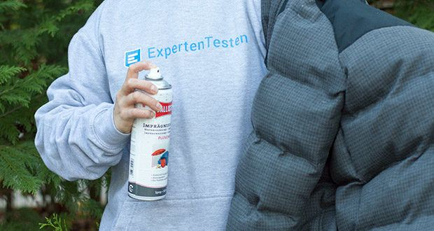 BALLISTOL Pluvonin Imprägnierspray im Test - sprühen können Sie senkrecht oder waagerecht in einem Abstand von ca. 20 bis 25 cm. Trocknen lassen – fertig