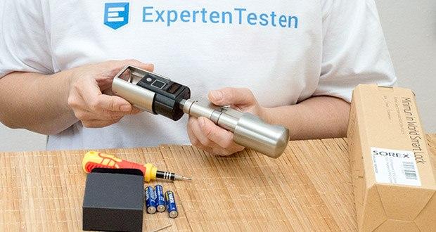 SOREX FLEX Fingerprint & RFID Türöffner im Test - der Zylinder wird dabei flexibel auf verschiedene Türgrößen eingestellt