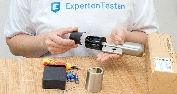 SOREX FLEX Fingerprint & RFID Türöffner im Test - Batterie für Elektronikknauf: 3x AAA 1,5 Volt (enthalten)