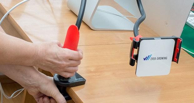 EasyAcc Tablet Halterung Handyhalter im Test - der Gerätehalter kann um 360 Grad gedreht werden und bietet Ihnen somit noch mehr Flexibilität beim Einstellen Ihrer Geräte