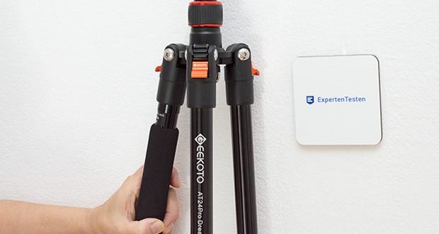 GEEKOTO Aluminum Stativ AT24Pro im Test - das 3-stufige Beinwinkel-Einstellsystem kann flexible Aufnahmen für verschiedene Aufnahmeszenarien und -bedingungen liefern