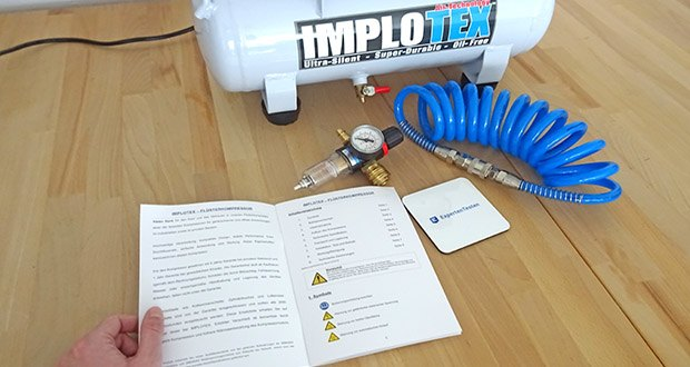 Implotex Druckluftkompressor im Test - Flüster-Lautstärke von nur ca. 50-55dB