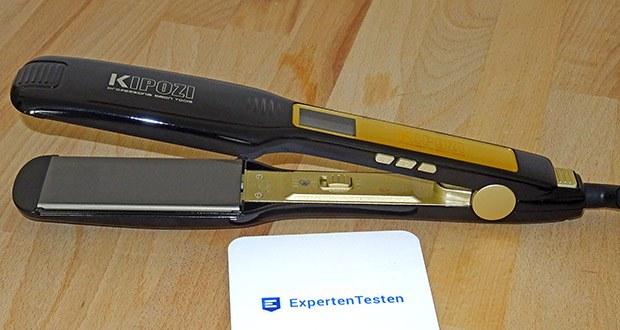 KIPOZI Glätteisen im Test - durch das abgerundete Design der Kanten ist das Gerät für beides, Glätten und als Lockenwickler, geeignet