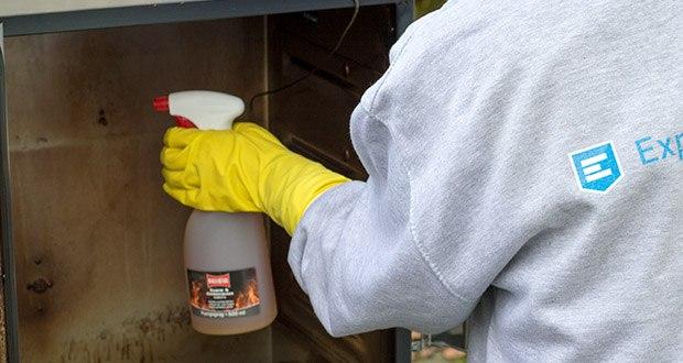 BALLISTOL Reiniger Kamofix im Test - bei sehr hartnäckigen Verschmutzungen lassen Sie Kamofix Ofenreiniger vorher ca. zwei Minuten einziehen und sprühen vor dem Abwischen noch einmal kurz nach