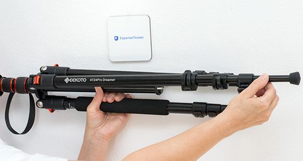 GEEKOTO Aluminum Stativ AT24Pro im Test - mit einem abnehmbar Bein kann der Kameraständer als Kamera-Einbeinstativ verwendet oder in <a href=
