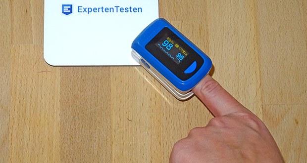 MedX5 Fingerpulsoximeter im Test - zur Messung der Blutsauerstoffsättigung (SpO2%) und der Herzfrequenz (Pulsfrequenz), Sauerstoffsättigung (SpO2) und Pulsfrequenz