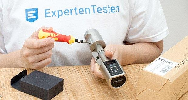 SOREX FLEX Fingerprint & RFID Türöffner im Test - Durchmesser Drehknäufe: Außen 46 mm, Innen 29 mm