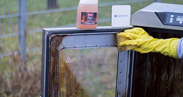 BALLISTOL Reiniger Kamofix im Test - reinigt die Scheiben von Kaminöfen gründlich, selbsttätig rückstandsfrei und sekundenschnell
