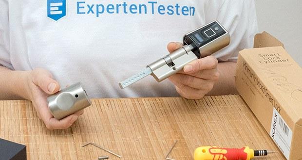 SOREX FLEX Fingerprint & RFID Türöffner im Test - Zylinderlänge stufenlos einstellbar: Außen 40-60mm / Innen 30-65mm