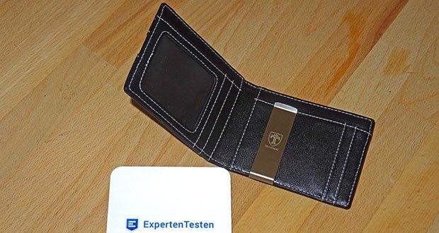 TRAVANDO Geldbeutel Männer mit Geldklammer im Test - mit der eingebauten Geldspange aus Edelstahl lassen sich Geldscheine befestigen