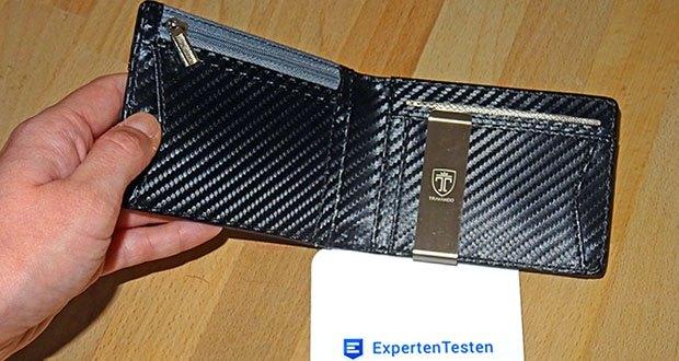 TRAVANDO Geldbeutel Männer mit Geldklammer im Test - Schlanke Abmessungen: 11,4 x 8,2 x 2,3 cm (geschlossen und leer)