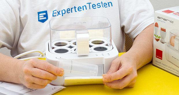 Emerio Eierkocher im Test - kocht in nur einem Kochvorgang alle drei Garstufen vollautomatisch