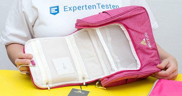 HIKENTURE Kulturtasche im Test - das Hauptfach ist mit einem hohen Netz versehen, wodurch gewährleistet wird, dass nichts rausfällt