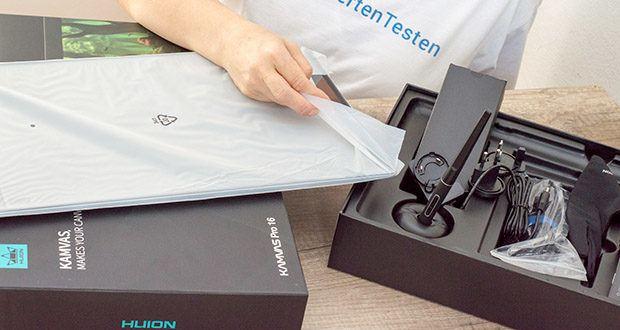 HUION Grafiktablett Kamvas Pro 16 im Test - Packungsinhalt: 1× Kamvas Pro 16 Stift-Display, 1× Digitalstift, 1× 3-in-1-Kabel, 1× Netzteil, 4× Stecker, 1× Stifthalter PH05, 10× Stiftspitzen, 1× Federclip, 1× Reinigungstuch, 1× Kurzanleitung