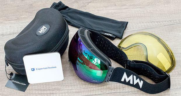 MessyWeekend Float Skibrille im Test - die doppelschichtige, austauschbare XE2-Linse besteht aus einem optischen Polycarbonat der Güteklasse 1, wodurch beide dünn, leicht und praktisch unzerbrechlich sind