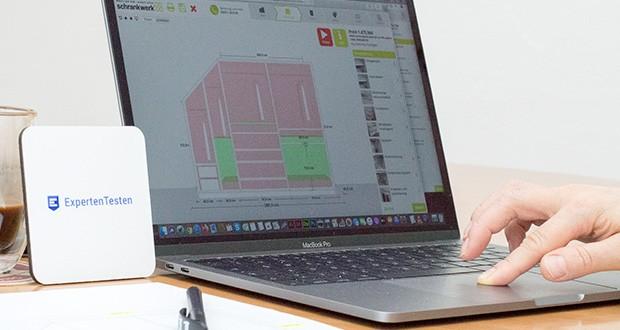 schrankwerk.de online Kleiderschrank Konfigurator im Test - einen Schrank für die Dachschräge links einfach und individuell planen