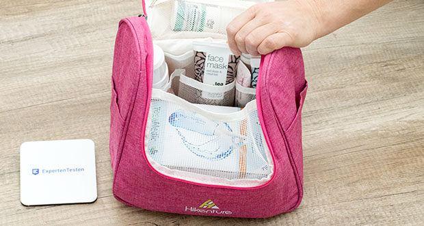 HIKENTURE Kulturtasche im Test - die zwei Netztaschen und Seitentaschen sorgen dabei für zusätzlichen Stauraum
