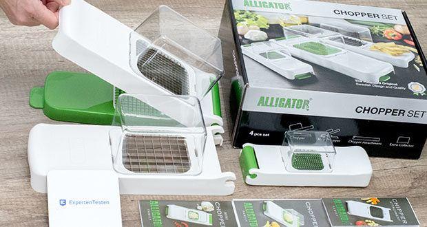 Alligator Chopper Set 3-in-1 im Test - stellen Sie wahlweise 3, 6 oder 12 mm große Zwiebel- und Gemüsewürfel mit den auswechselbaren Messereinsätzen her