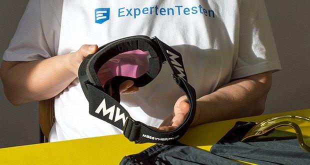 MessyWeekend Float Skibrille im Test - der XE2-Linse werden kontrastverstärkende Farbstoffe hinzugefügt, die speziell für Schneesport- und Bergbedingungen entwickelt wurden