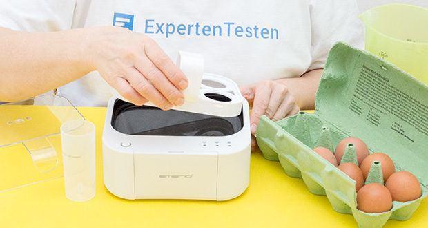 Emerio Eierkocher im Test - gibt ein Signal und eine Sprachausgabe zum jeweiligen Garpunkt aus
