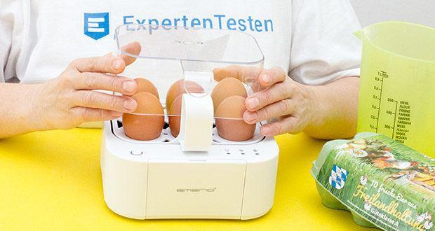 Emerio Eierkocher im Test - kocht alle drei Garstufen (weich|mittel|hart) in nur einem Kochvorgang mit perfektem Ergebnis