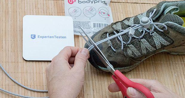 BODYPRIDE Premium Schnürsenkel mit Schnellverschluss im Test - Schnürsenkel haben eine Gesamtlänge von 1,20m, du kannst sie beliebig kürzen
