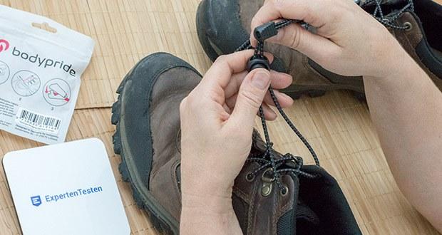 BODYPRIDE Premium Schnürsenkel mit Schnellverschluss im Test - du regulierst, wie feste oder locker dein Schuh eingestellt ist - das geht mit herkömmlichen Schnürsenkel nicht