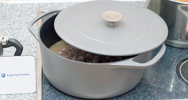 Springlane Gusseisen Bräter Cocotte im Test - mit der runden Cocotte (Ø 28cm) kochst du auf stilvolle Art und sorgst für außergewöhnliche Genusserlebnisse.