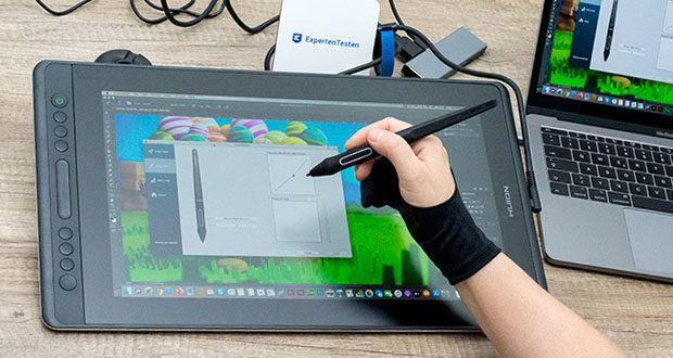 HUION Grafiktablett Kamvas Pro 16 im Test - batteriefreier Digitalstift, der nicht aufgeladen werden muss