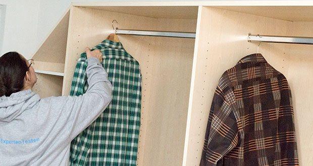schrankwerk.de online Kleiderschrank Konfigurator im Test - selbst konfigurierter Einbauschrank für die Schräge: jeder Zentimeter Raum wird ausgenutzt