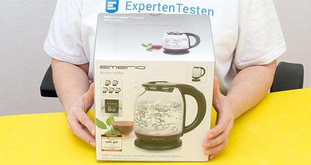 Emerio Glas Wasserkocher im Test - verfügt über ein mit hochwertigem Edelstahl abgedecktes Heizelement