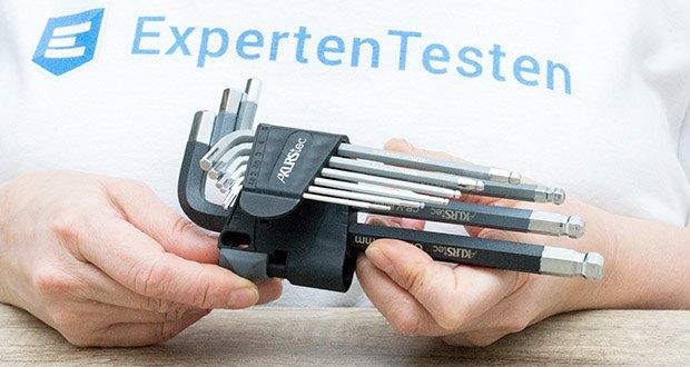 KLRStec Innensechskant Imbusschlüssel Set 9-teilig im Test - der Halter ist für eine praktische Größe gekennzeichnet und verfügt über ein Loch zum Aufhängen für einfache Aufbewahrung