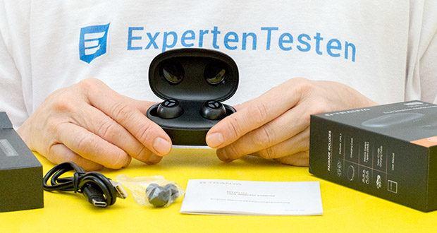 Tranya Rimor Bluetooth Kopfhörer im Test - Lieferumfang: 1x Kopfhörer, 1x Ladekoffer, 1x Micro USB Ladekabel, 6x Ohrstöpsel, 1x Bedienungsanleitung, 1x Quick-Start Anleitung
