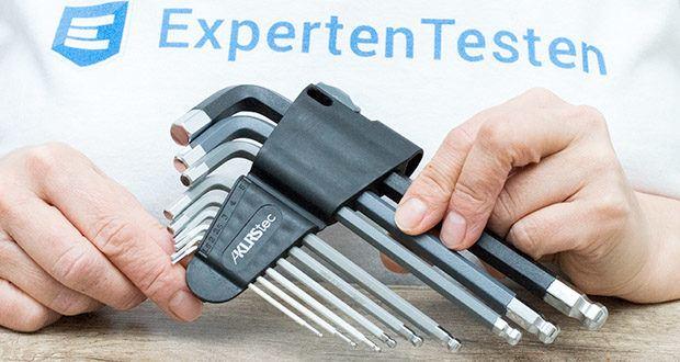 KLRStec Innensechskant Imbusschlüssel Set 9-teilig im Test - jeder Winkelschraubendreher hat am Endstück einen Kugelkopf; dadurch kann in einem Winkel von bis zu 30 Grad gearbeitet werden