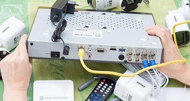 ANNKE Überwachungskamera Set mit DVR Rekorder im Test - der 4K Videoausgang wird für Ihren exquisiten 4K Fernseher oder -Monitor unterstützt, um die ultraleichte Darstellung zu zeigen