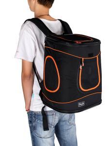Mann mit Hunderucksack Petsfit schwarz orange
