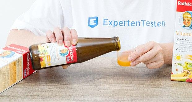 Rotbäckchen Vital Vitamin D im Test - zur jede Flasche gibt es einen kleinen Dosierungsbecher (von 10 bis 40 ml in 5ml Schritten)